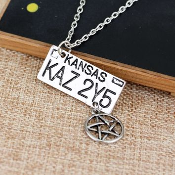 Movie Jewelry Supernatural Necklace Dean of The License Plate Collares Fashion Bar Star Necklace for Women and Men