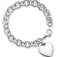 James Avery Classic Cable Bracelet with Heart Charm - Sterling Silver