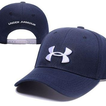 LMFDQ7 Navy Blue Under Armour Embroidered Outdoor Baseball Cap