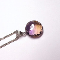 Genuine Ametrine Necklace - Faceted Crystal Necklace, Ametrine Jewelry, Amethyst Necklace, Gem Necklace, Glam Necklace, Gemstone Necklace