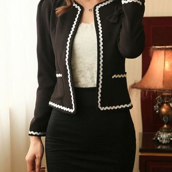 Black Bowknot Design Long Sleeve Side Pocket Blazer