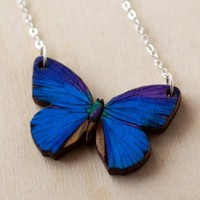 Lovely Butterfly Necklace - Blue Morpho