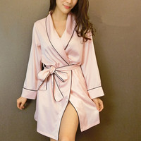 Autumn New arrival robe luxury female sexy faux silk silky satin sleepwear nightgown lounge M378
