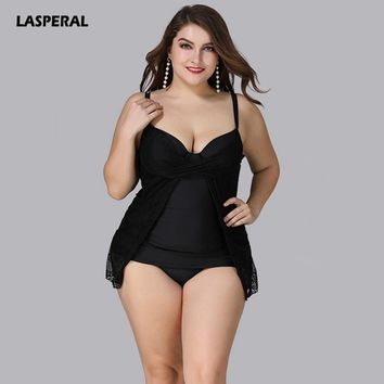 LASPERAL 5XL Large Big Plus Size Swimwear Women Sexy One Piece Swimsuit 2018 Sexy Lace Mesh Beach Bathing Suit Black Bodysuit