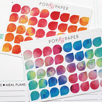 40 Small Watercolor Teardrop Planner Stickers, Perfect for EC/PPP/Kikki K Planners