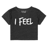I FEEL | White-Female Heather Onyx T-Shirt