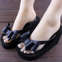 hot sale Flip Flops High-heeled Slippers Women's Summer Beach Platform Thong Wedge Sandals Bowknot Shoes 5 COLORS