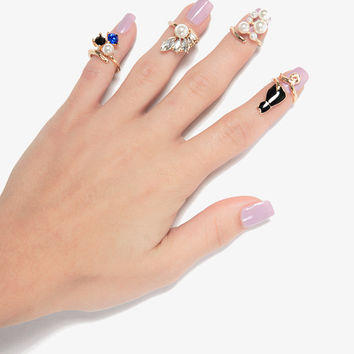 Cat and Diamond Nail Rings