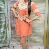 Coral Crochet Tunic Dress