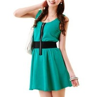 Allegra K Ladies Sleeveless Zip Up Front Stretchy Waistband Casual Dress
