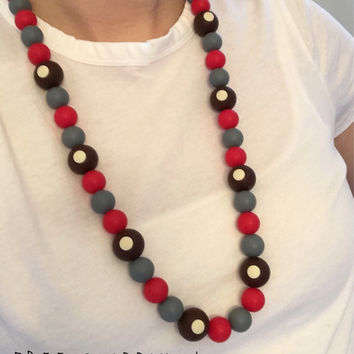 Ohio State Buckeye Baby Teething Necklace. Necklace for Mom Teething Beads for Baby. 100% Non-Toxic & BPA Free. Shower Gift for Football Fan