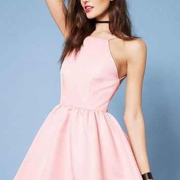 PEAP2Q casual pink spaghetti strap backless halter dress