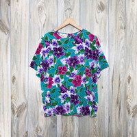 Vintage Tropical Floral Hawaiian Blouse