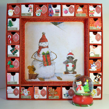 Christmas Advent Calendar Snowman Water Globe  - Wooden Personalized Gifts - Countdown Calendar - Snow Animals