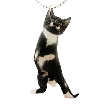 Black and White Kitty Cat Stretching on Hind Legs Shaped Pendant Necklace | Handmade