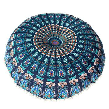 2018 Colorful Large Mandala Floor Pillows Round Bohemian Meditation Pillow Cover Ottoman Pouf High Quality Floor Cushion