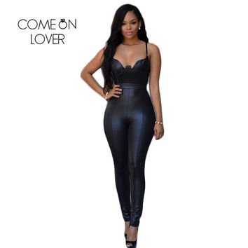 RI80281 Latex Catsuit Bodycon Jumpsuits for Women Tight-fitting Open Back Faux Leather Jumpsuits Back Zipper Women Bodysuit