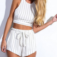 Pinstripe White Two-Piece