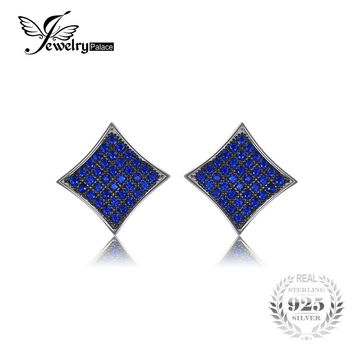 JewelryPalace Fashion 0.7 ct Created Blue Spinel Real 925 Sterling Silver Stud Earrings For Women 2017 Brand Design Fine Jewelry