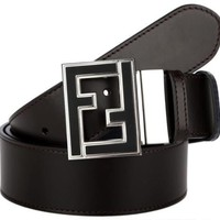 NEW FENDI FF ENAMEL BUCKLE REVERSIBLE ADJUSTABLE BROWN BLUE LEATHER BELT