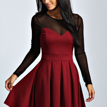 Annie Mesh Detail Skater Dress