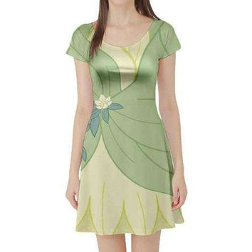 Tiana Princess and the Frog Inspired Short Sleeve Skater Dress