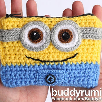 Finished item: Minion crochet wallet with two compartments Ready to ship
