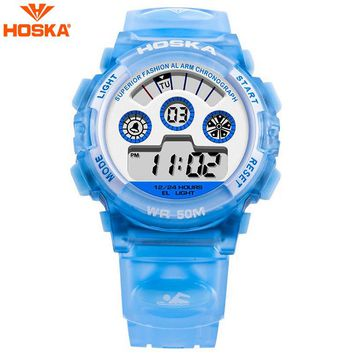 HOSKA Children Watch Kids Outdoor Sports Watches Alarm Auto Date Boys LED Display Digital Wristwatches Relogio Relojes H001S