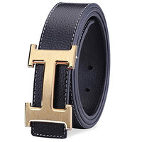 IGOBLIN Men's Business Casual H Word Deduction Leather Belt with Pin Buckle