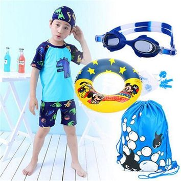 ICIKUH3 2017 Promotion Boys Character Polyester New Children's Swimsuit Boy Swimming Suit Sleeved Sunscreen