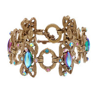 Sweet Romance Tropical Iridescent Glass and Crystal Bracelet | Overstock.com