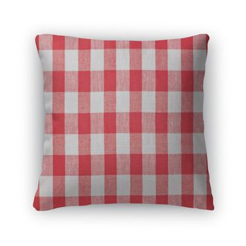 Throw Pillow, Red Checked Fabric Tablecloth