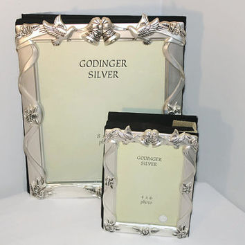 Godinger Silver Plated Wedding Album Set, 8 x 10, 4 X 6 Photo Books Bells Doves Roses