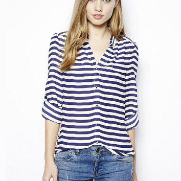 Navy Blue V-Neck Striped Roll Up Sleeve Chiffon Blouse