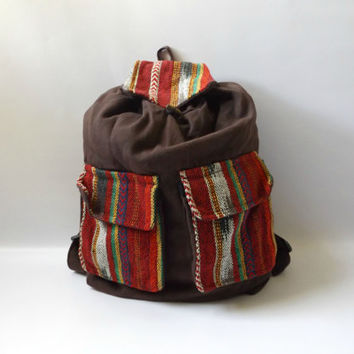 90s Grunge Ikat Print Backpack Vintage Brown + Multi Color Woven Cotton Hippie Mexican Purse Bookbag 1990s Slouchy Boho Overnight Tote Hippy