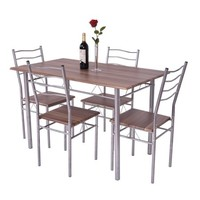 Costway 5 Piece Dining Table Set Wood Metal Kitchen Breakfast Furniture w/4 Chair Walnut - Walmart.com