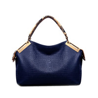 Alligator Crocodile leather texture Women shoulder metal frame Handbags hobos top Snakeskin handle bag lady