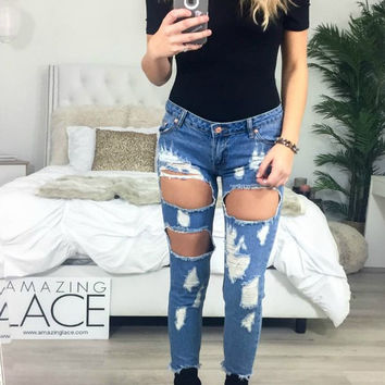 Lafayette Frayed Hem Distressed Denim Crop Pants
