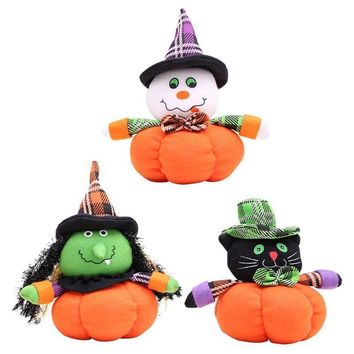 Halloween Doll with Pumpkin Stand for Festival Home Party Widow Ornament Halloween Cute Toy Table Decoration FES8026