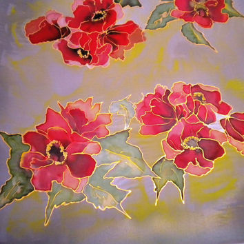 poppies  ..silk scarf  Hand paited  90x90cm--36x36Hand  Women Floral Scarf.