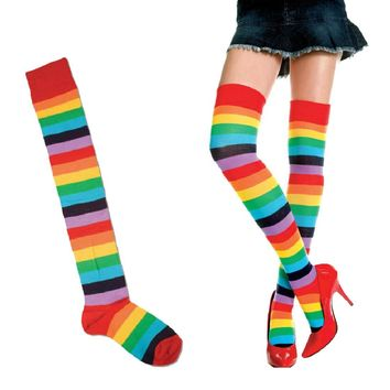 Fashion Women Polyester Over Knee Stocking Rainbow Colorful Thigh Long Stripey Stockings Socks