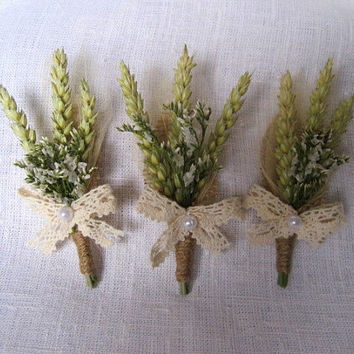 Country chic wheat wedding boutonnieres set of 6 wheat lace wedding pin ,rustic wedding ,green beige buttonholes ,groom pin ,groomsmen decor