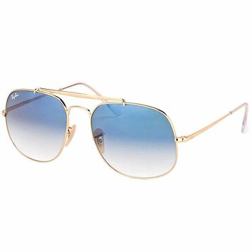 Ray-Ban RB 3561 001/3F General Gold Metal Aviator Sunglasses Blue Gradient Lens