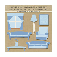 Light Blue Living Room Clipart Clip Art Graphics, Family Room, Sofas, Chair, Table, Flower, Window, Lamp, Artwork, Scrapbook Elements
