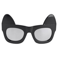 Black Detachable Cat Ear Mirror Lens Wayfarer Sunglasses