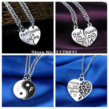 2015 New Style Fashion Friendship Broken Heart Parts 2 Best Friend Necklaces & Pendants Share With Your Friends.