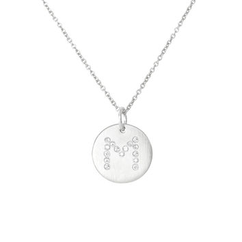 Silver Diamond Initials Necklace-M