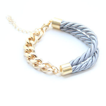 SPRING SALE - 20% OFF! Half and Half: Gold chunky chain and Grey Bracelet - 24k gold plated