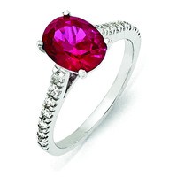 Cheryl M Sterling Silver Synthetic Ruby & CZ Ring