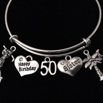 Happy 50th Birthday Sister Palm Tree Golfer Jewelry Adjustable Bracelet Silver Expandable Bangle Trendy One Size Fits All Gift